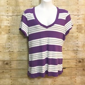 Old Navy T Shirt Size XXL Purple White Striped